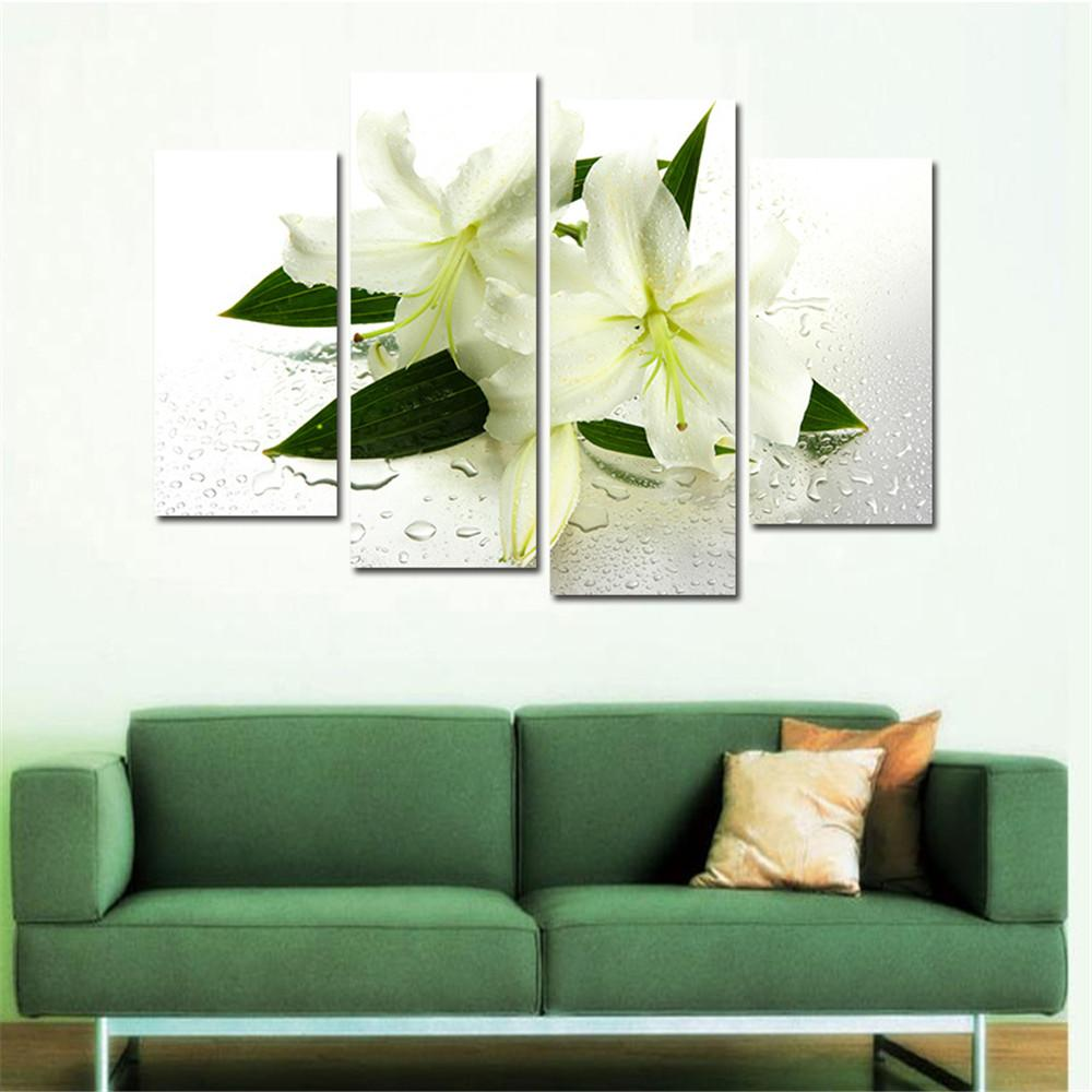2018 4 Panels Canvas White Lily Flower Painting On Canvas Wall Art