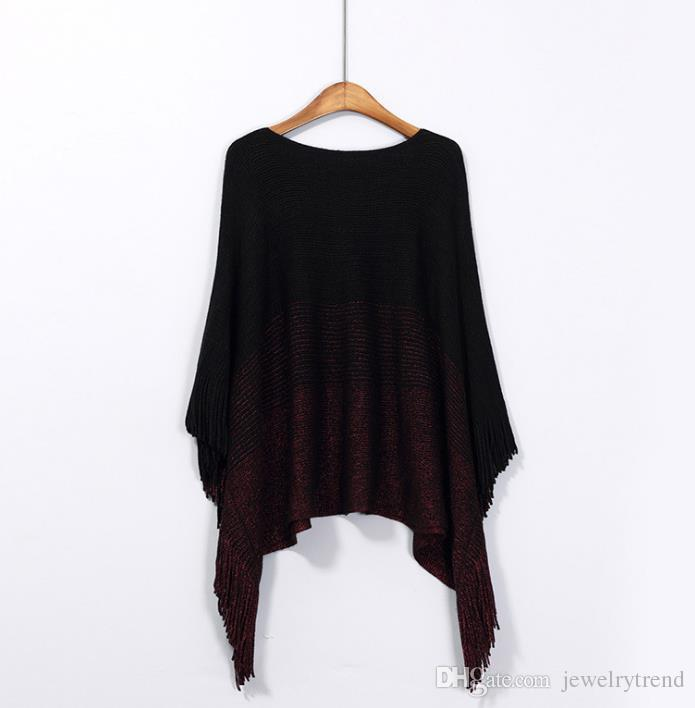 Nowa Jesień Europa Moda Dzianina Ponchos Knitting Ca [E Sweter Pani Loose Batwing Tassels Poncho Szal Okłady Pulowers Sweter C3189