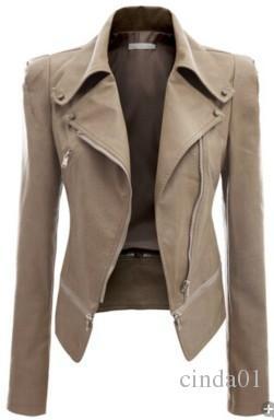 Nuova giacca in pelle da donna cool Rivet Giacca da moto con cerniera Turn down collar in chaquetas mujer Cappotti in pelle con motivo argyle