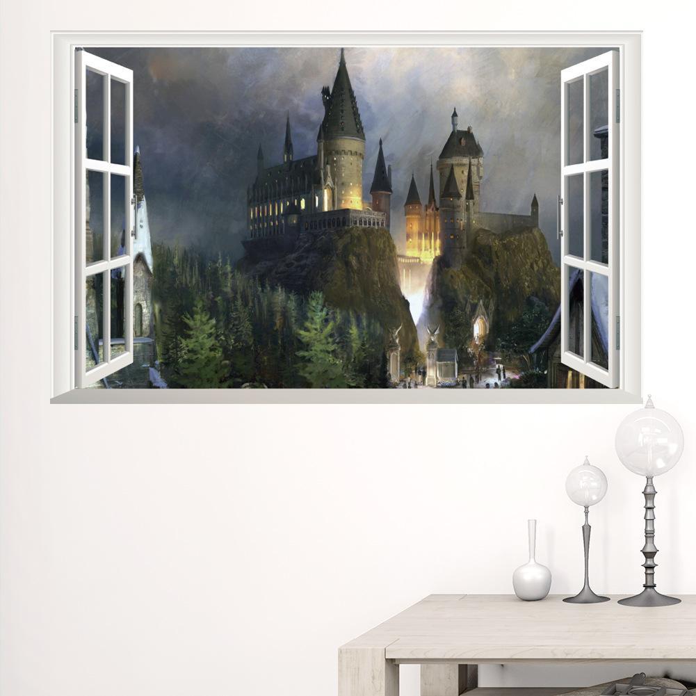 New 3d Windows Ghost Castle Halloween Wall Sticker Pvc Festival Wall
