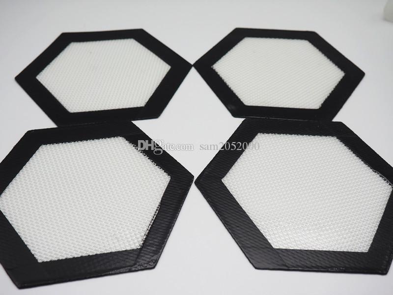 Livraison gratuite !! Hexagone forme Qualité Alimentaire Non-bâton Silicone Tapis De Cuisson Dabber Feuilles