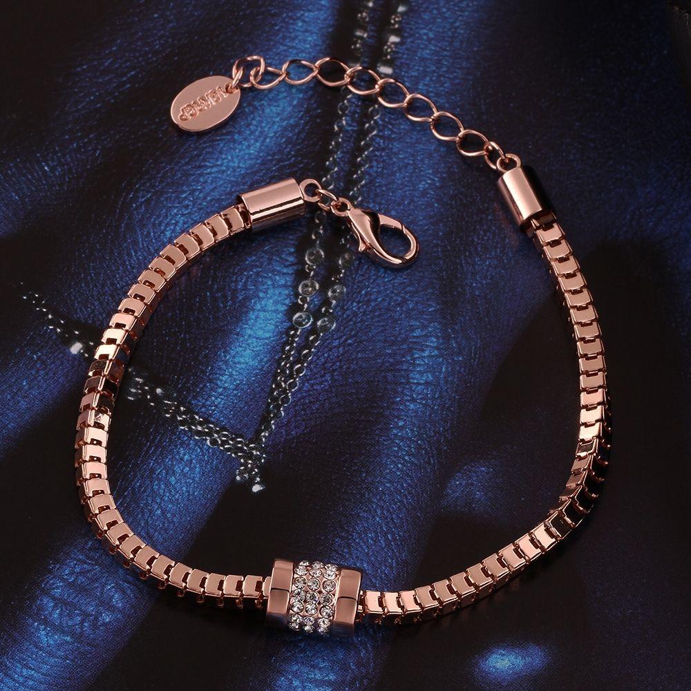 Luxury 18K Rose Gold Snake Chain Link Bracelet for Women Ladies Shining Rhinestone Austrian Crystal Charms Jewelry Best Friends Gifts