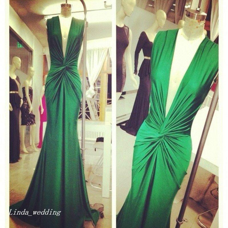 Michael costello verde vestido de noite sexy decote em v profundo celebridade desgaste especial ocasião vestido de baile vestido de festa