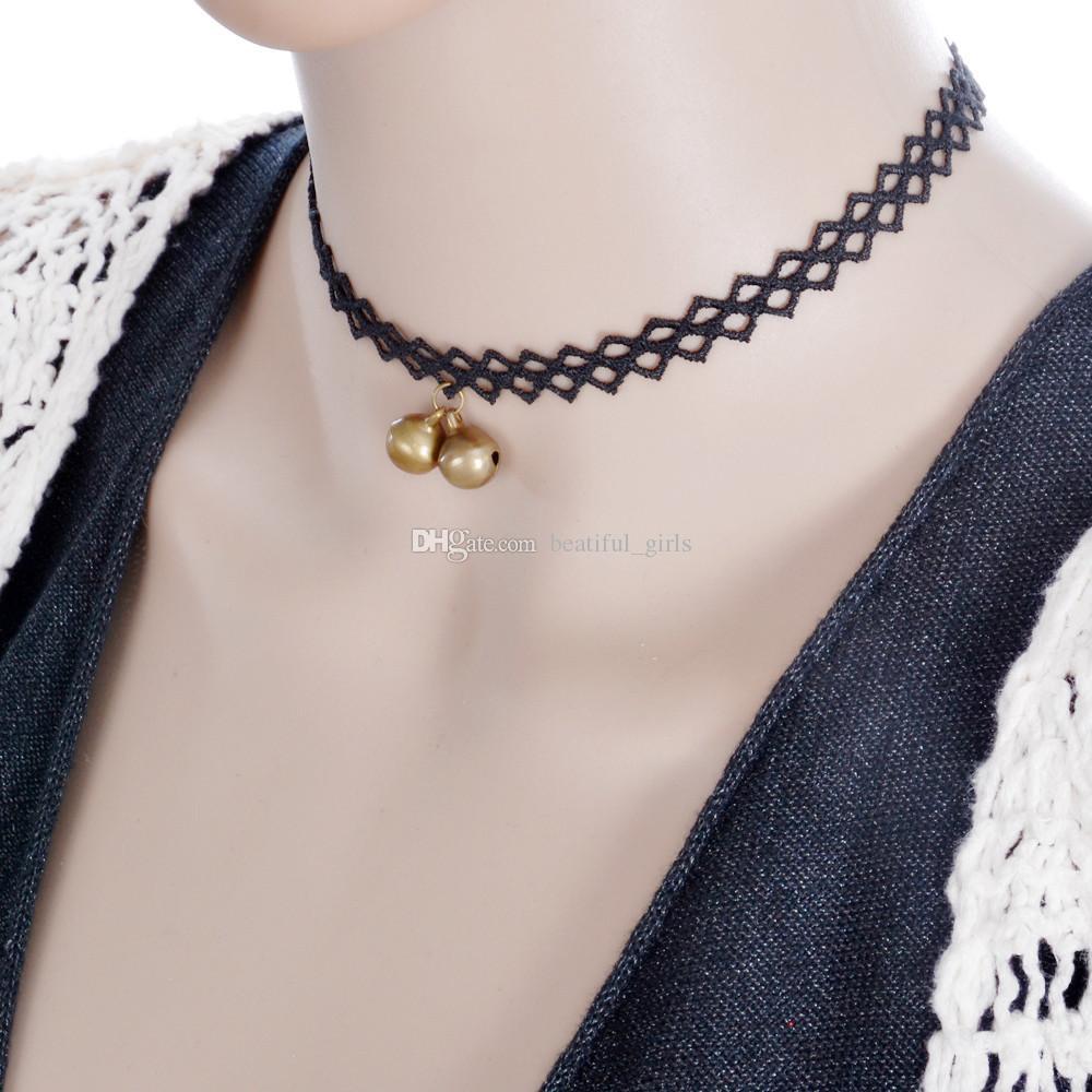2017 heiße neue koreanische Version des kreativen Komplexes Gulei Si schwarze Dame Modelle einfache Glocke Anhänger Halskette Anhänger Großhandel Epacket Free