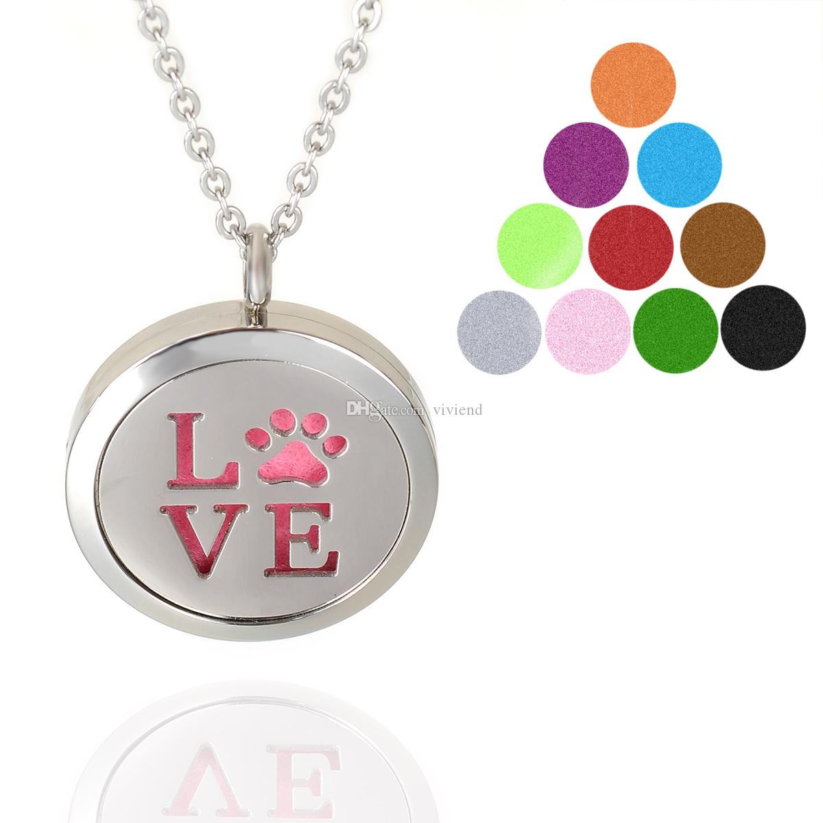 Aromatherapy Essential Oil Diffuser Necklace LOVE Pet Paw Locket Pendant with Refill Pads 316L Stainless Steel