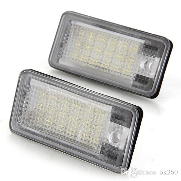 2 piezas blancas 6500K 18 LED 3528 SMD Lámparas de matrícula Lámparas Lámparas para AUDI A3 8P A6 4F