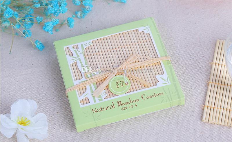 Wedding Favors Gifts Good Luck Bamboo Coasters Natural Square Bamboo Cup Mat =box + DHL