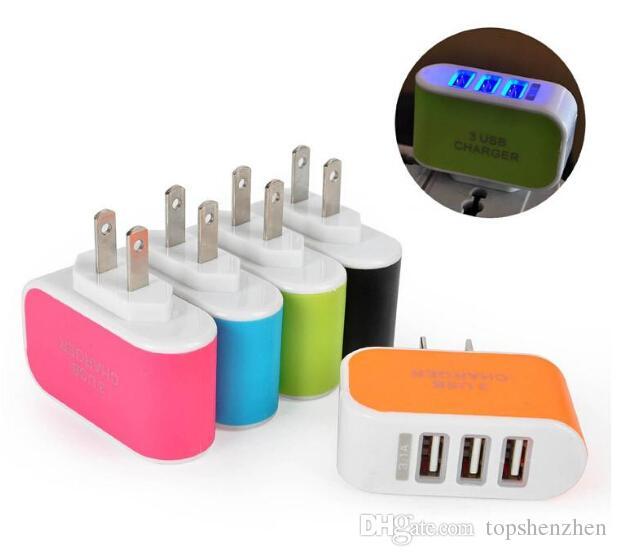 EU US Plug 3 Ports Multiple USB Mur Chargeur Adaptateur Mobile Smart Phone Dispositif 5V 3.1A adaptateur de charge Charge rapide pour iPhone iPad XiaoMi