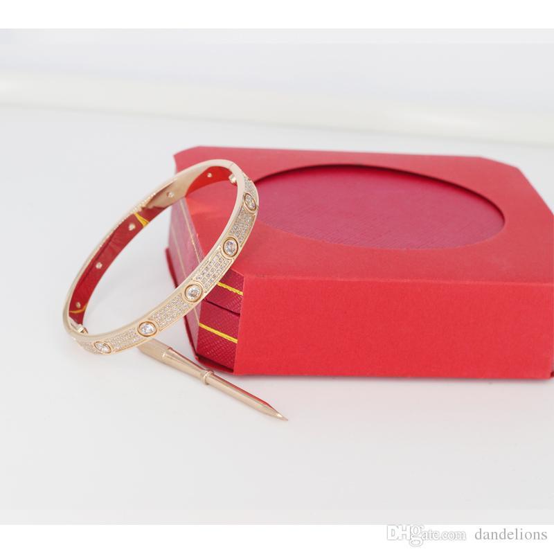 Mulheres de aço de titânio amor pulseiras de parafuso com ouro CZ completo diamante prata rosa pulseira de ouro com chave de fenda pulseira para os amantes com caixa