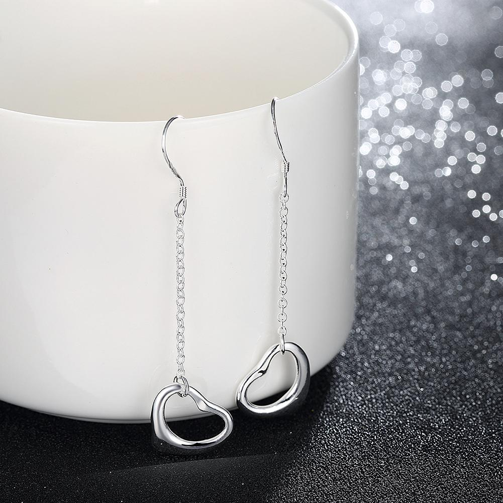 Heart-shaped Silver Earring Simple Long Chain Hanging 925 Sterling Silver Plated Dangle Earrings Romantic Jewelery for Women Girls Cute Gift