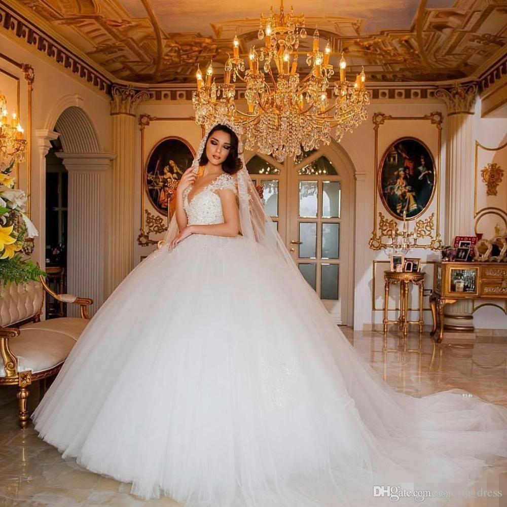 Robe De Mariée De Luxe Robes De Mariée Turquie V Cou Perlé Cristal Perle Dentelle Weding Chine Mariée Mariée Robes De Mariée robe de mariage
