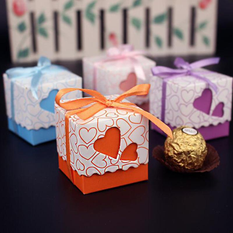 Wholesale 10 Pcs Love Heart Shaped Wedding Decoration Favor Candy Gift Box Small Ribbon Handmade Chocolate Paper Packaging Boxes Bag Pb014