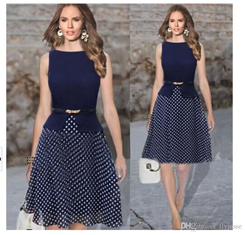 Summer Sleeveless Fashion Women Polka Dot Gown Dress Clothes Ladies Evening Party Chiffon Dress Patchwork Clothes With Belt
