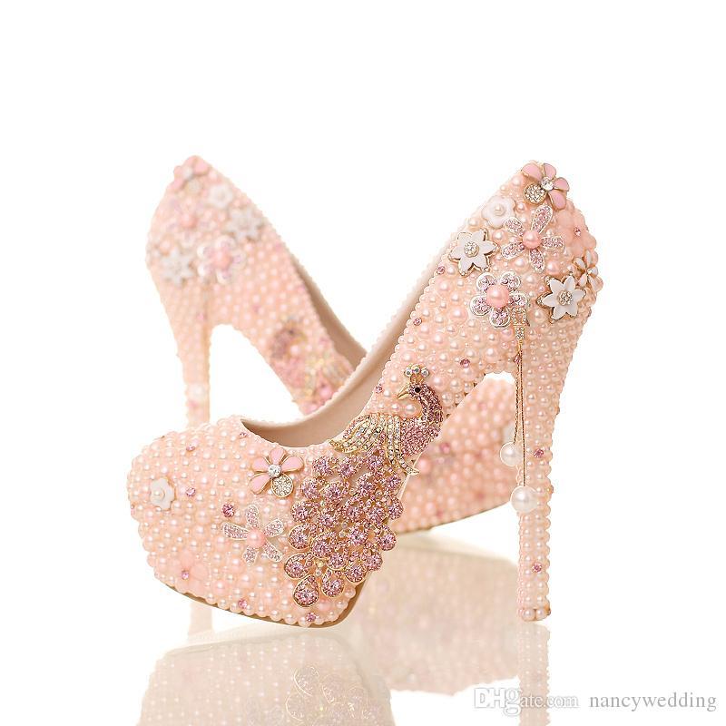 새로운 디자인 분홍색 진주 신부 신발 단화 발 뒤꿈치 플래트 홈 피닉스 석상 단화 둥근 정장 숙녀 당 prom 펌프
