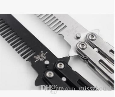 Portable Delicate Pro Salon Stainless Steel Folding Training Butterfly Practice Style Knife Comb Tool
