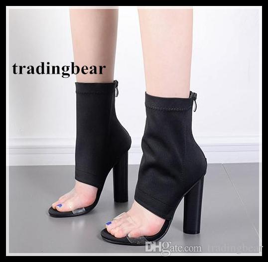 7429fd609b70 Sexy Thick Heels Black Elastic Cloth Open Toe Ankle Boots Women Autumn  Shoes Online Store Drop Ship Size 35 To 40 Footwear Bass Shoes From  Tradingbear