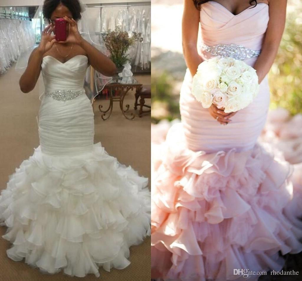 Vintage 2016 Mermaid Wedding Dresses Blush Wedding Gowns