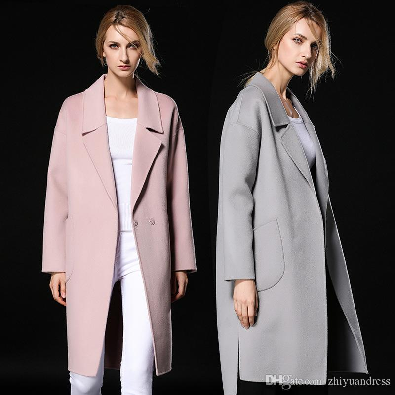 2017 Fashion Womens Wool Coats 2018 High Quality Long Winter Coats ...