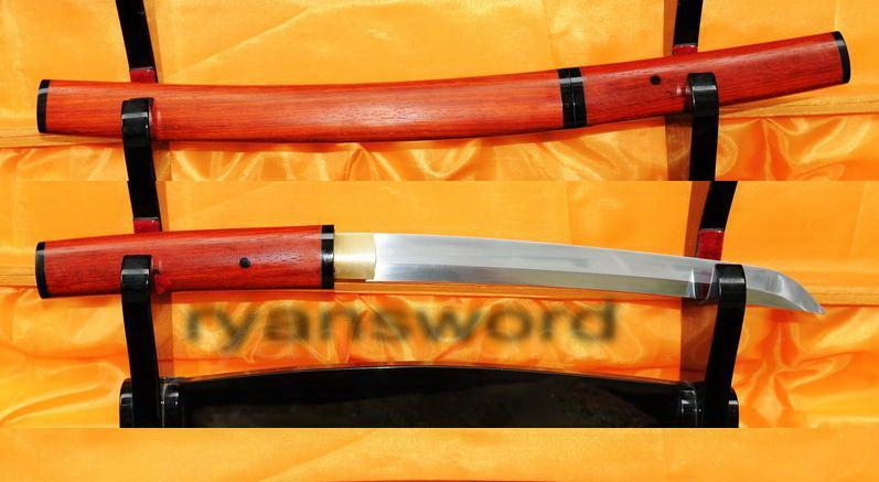 High Quality Horn+Rose Wood Saya 1095 Carbon Steel Japanese Samurai Tanto Sword