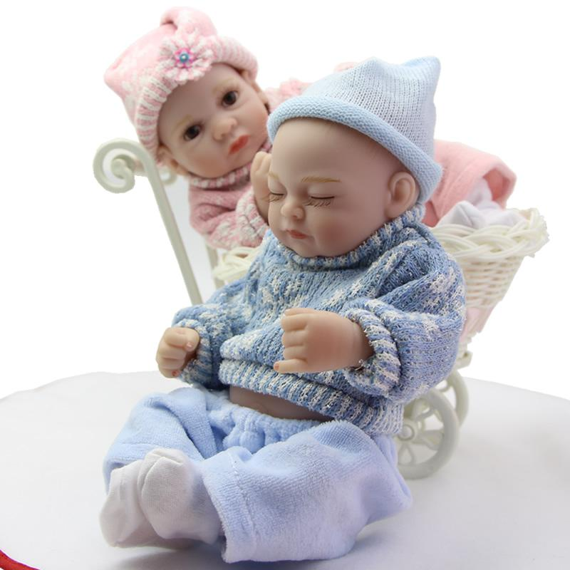 Reborn doll twins baby lifelike alive dolls 11 inch tiny full silicone vinyl newborn realistic girl and boy kids xmas gift doll accessories for 18 dolls 18