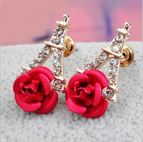 2018 elegante spilla auricolare fiori, dolce e dolce moda perla rosa orecchio chiodo auricola ornamenti