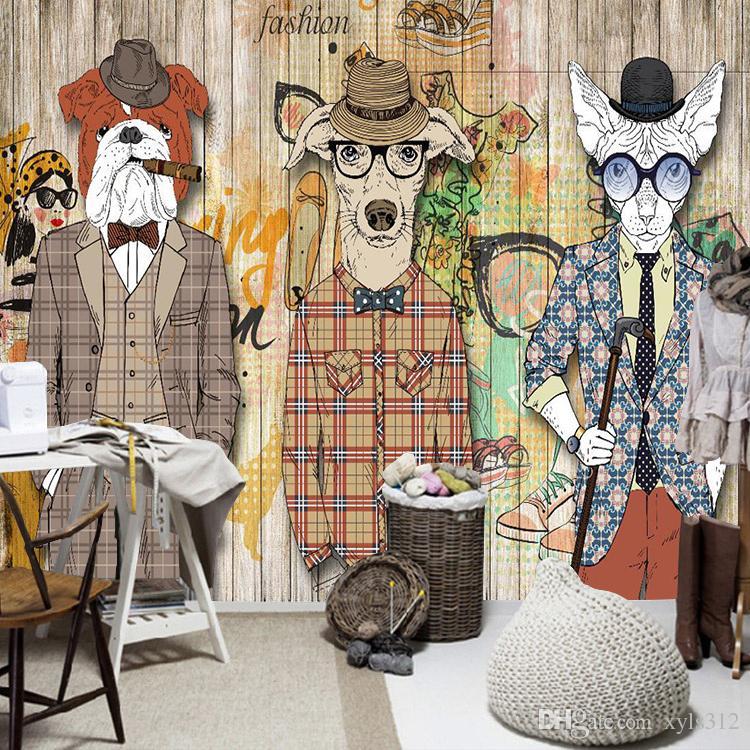Retro- Nostalgietierhundekleidungsstangenhintergrund-Tapetenwandgraffiti der Tapete der abstrakten Kunst hölzerne Planke