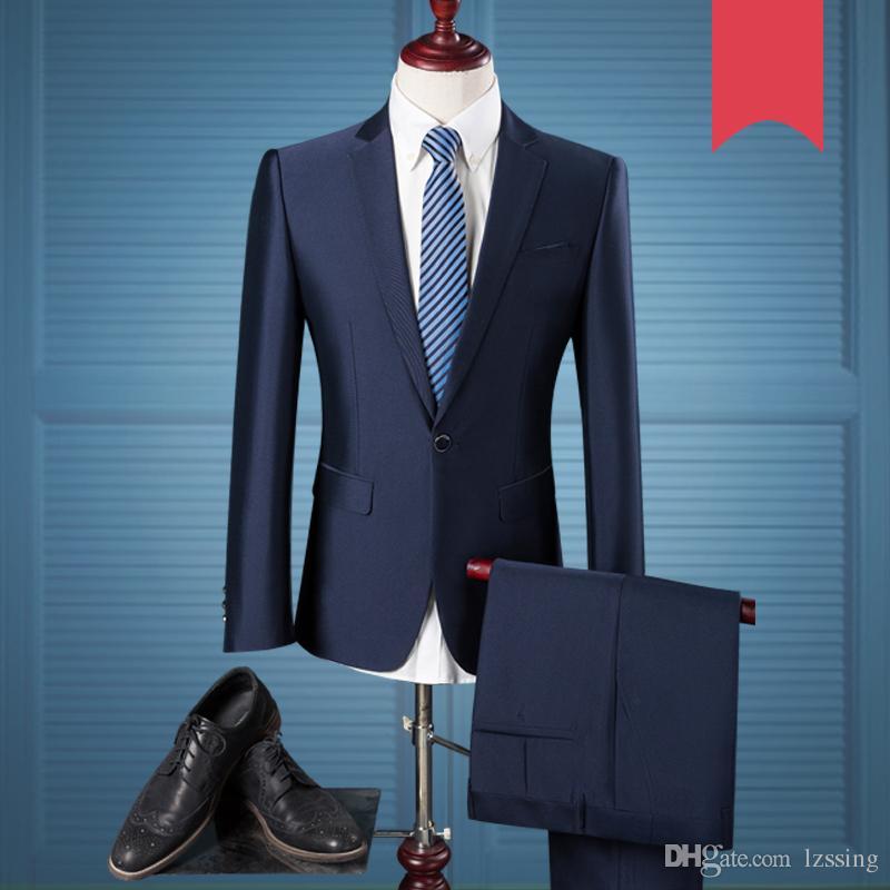 Großhandel New Royal Blue Coat Pant Männer Anzug Design Hochzeit