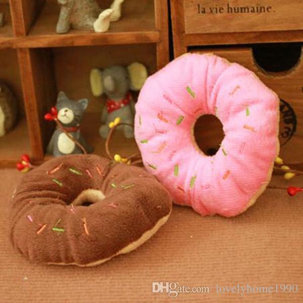 Toy Dog Puppy Cat Squeaker Quack Sound Toy Chew Donut Gioca ai giocattoli