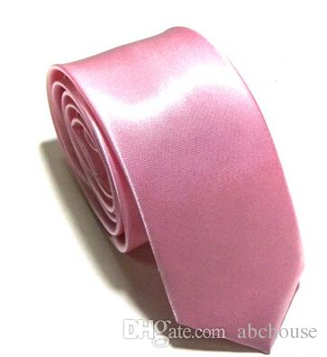 Commercio all'ingrosso 10 Pz / lotto Nuovo Mens Skinny Solido Colore Plain Satin Tie Cravatta cravatta di seta cravatta in jacquard di seta cravatta bianca e nera cravatta