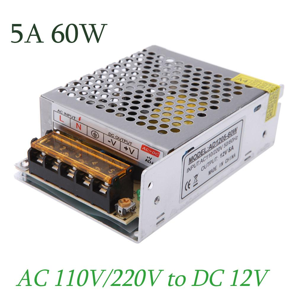 AC 110V / 220V a DC 12V 5A 60W Convertidor de voltaje variable Protección contra cortocircuitos Led Strip Billboard Switching Power Supply
