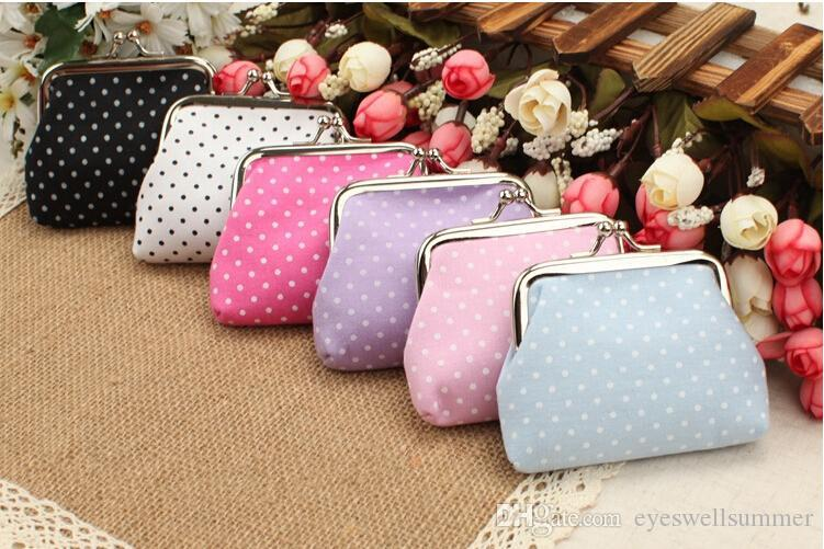 Mixed Fashion Hot Vintage colorful dot coin purse canvas key holder wallet hasp small gifts bag clutch handbag EWT022