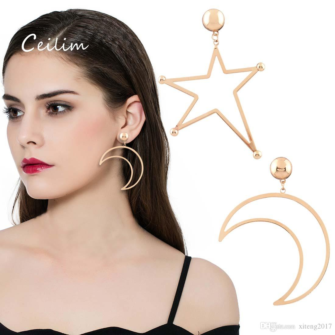 2018 European Designer Jewelry Asymmetric Star Moon Dangle