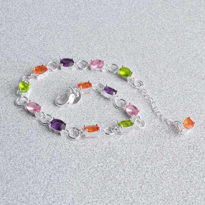 New Charm Crystal Bracelet for Women 925 Solid Sterling Silver Bangles stone Women boho bracelets jewelry