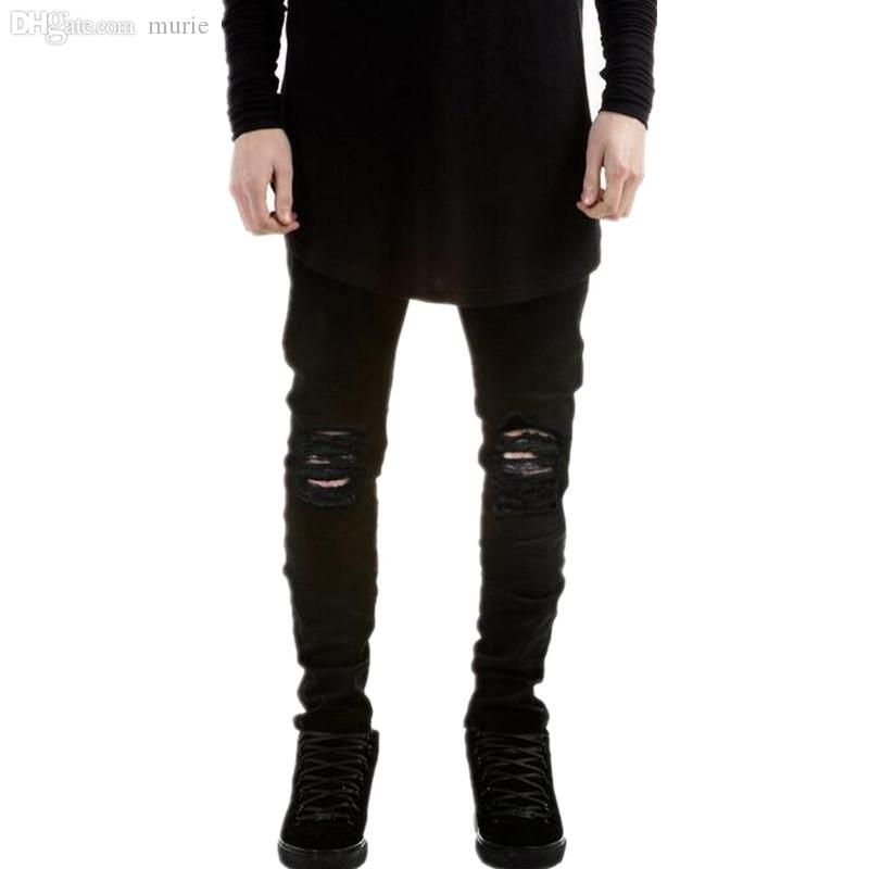 42c42642 2019 Wholesale New Hi Street Mens Black Ripped Jeans Men Plus Size 27 40  Fashion Male Distressed Skinny Jeans Destroyed Denim Jeans Pants,YA022 From  Murie, ...