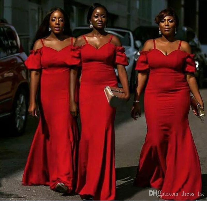 African 2017 Red Chiffon Plus Size Mermaid Bridesmaid Dresses Long Cheap Spaghetti Off The Shoulder Floor Lenght Maid Of Honor Gowns EN8314
