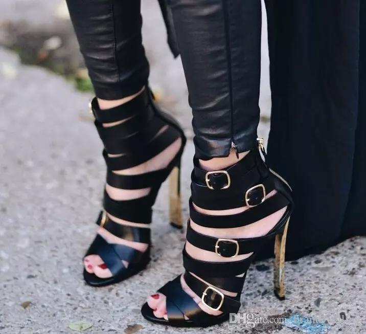 Fashion New 2017 Narrow Band Black Leather Sexy Women High Heel Sandals Shoes Gold Heel Name Brand Lady Party Even Shoes All Match Footwea