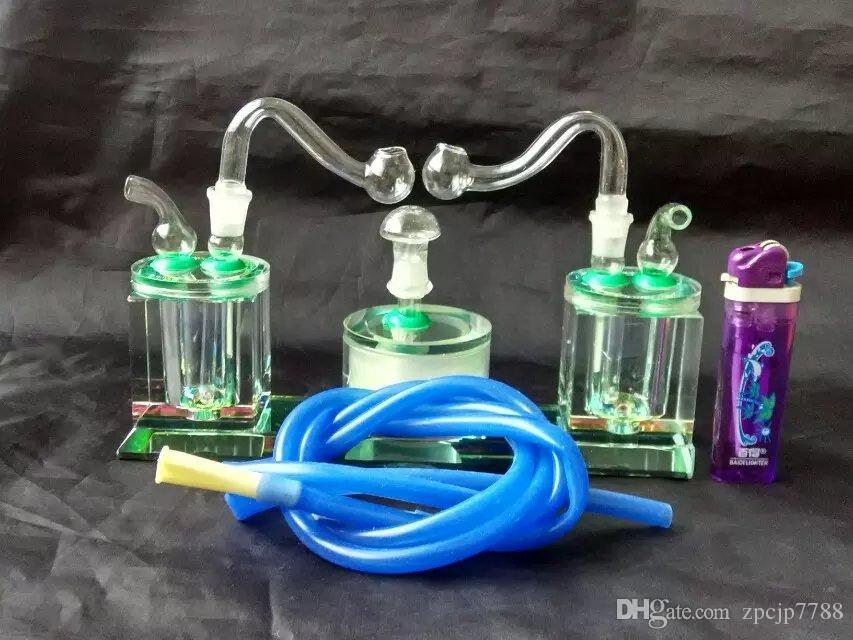 Duplo Pote De Cristal, Bongos Atacado Queimador de Óleo Tubos De Vidro Tubos De Água Tubulação De Vidro Plataformas De Petróleo Fumando Frete Grátis