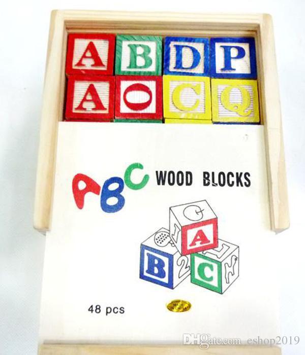 1 X 48 STÜCKE Alphabet Buchstaben Pädagogische Holz ABC Blöcke Für Kinder Childs Lernspiel Puzzle Spielzeug Lernen Lesen Zauber Kostenloser Versand