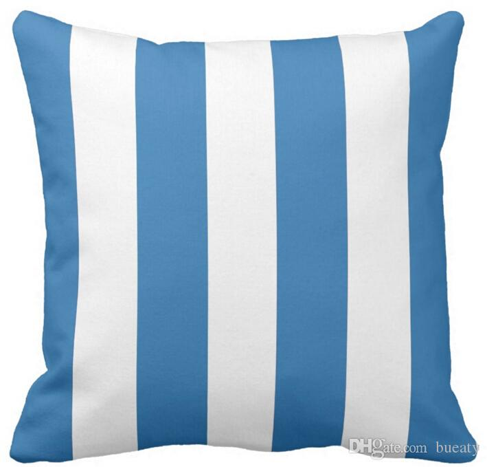 Ocean blue and white striped throw pillow 50% cotton and 50% linen material color as shown 16x16inch 18x18inch 20x20inch