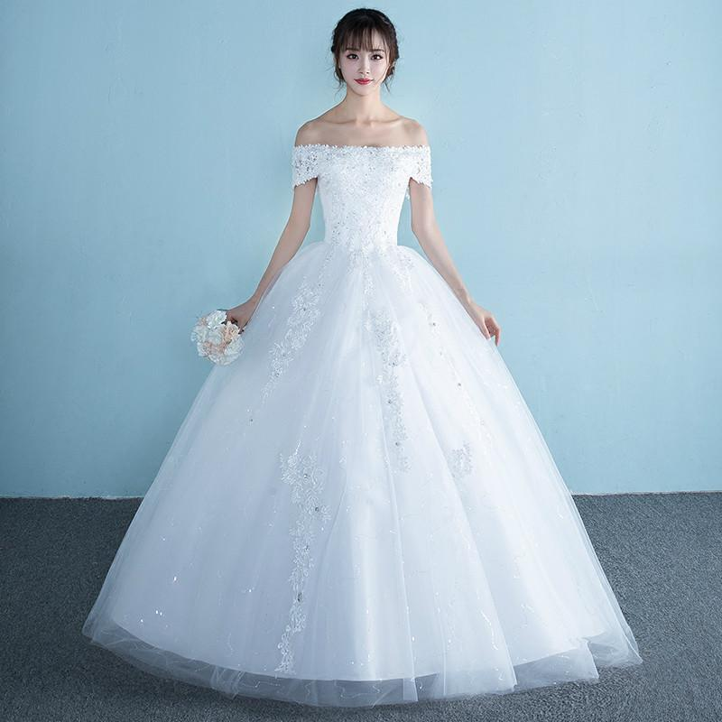 Discount Wedding Dress 2017 Elegant White Organza Boat Neck Short ...
