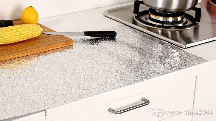 home decor Оптовая олово наклейки для кухни толстый водонепроницаемый анти-масляная паста самоклеющиеся обои рулон наклейки Виниловые наклейки Home Decor