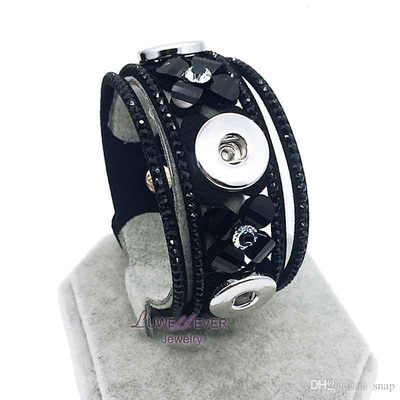 High Quality Retro 009 Korean Velvet Snap Button Bracelet Interchangeable Charm Jewelry For Women MenFit 18mm button