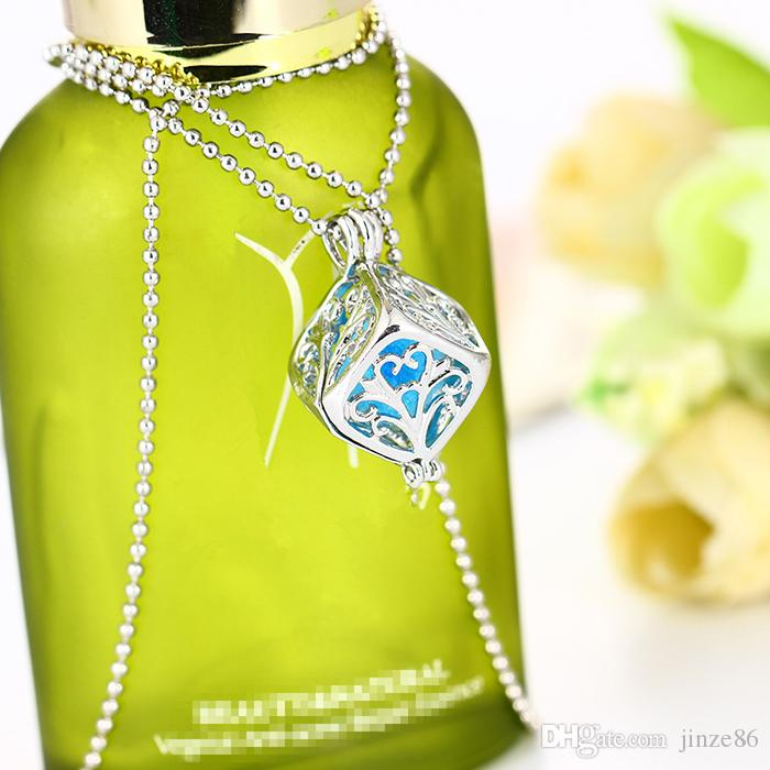 Aromaterapia Medallones Collar de Difusor de Aceite Esencial Forma Cuadrada Perfume Locket Diseño de la Jaula Collares Difusor Locket Colgantes Para Regalo