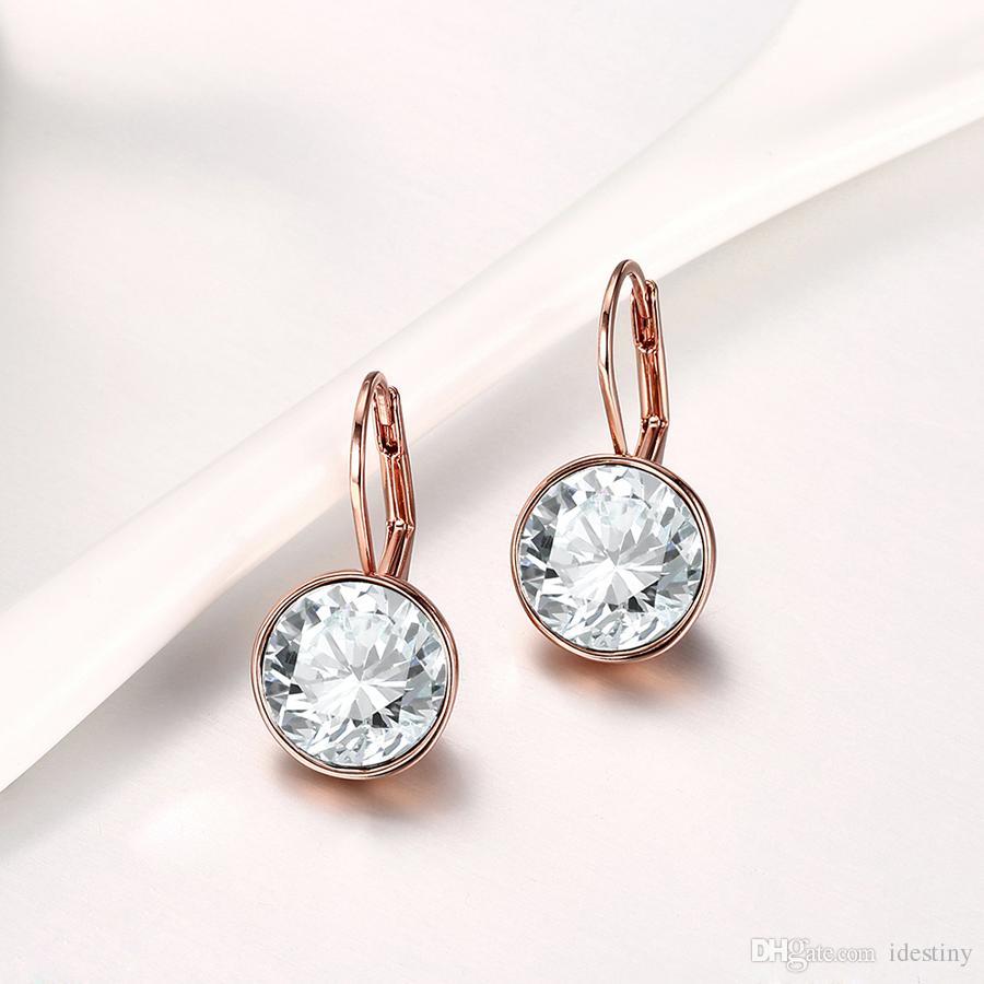 Bella damızlık küpe altın takı toptan takı ile Swarovski elements kristal takı küpe kadınlar için brincos