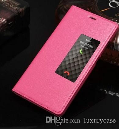 Portable Pour Huawei P9 Plus Etui Fenêtre Flip Couverture De Luxe Coloré Ultra-Mince D'origine Véritable Etui En Cuir Pour Huawei Ascend P9 Plus
