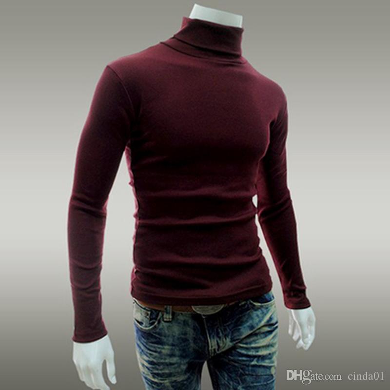 الرجال الكبس القمم الخريف سليم البلوزات الدافئة الخريف الياقة المدورة البلوزات البلوفرات الأسود الملابس للرجل القطن محبوك سترة الذكور البلوزات
