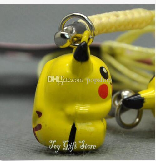 ! Hot Sale 100X Yellow Pocket Monsters Pikachu Cell Phone Strap JINGLE BELLS Dangle Charms New