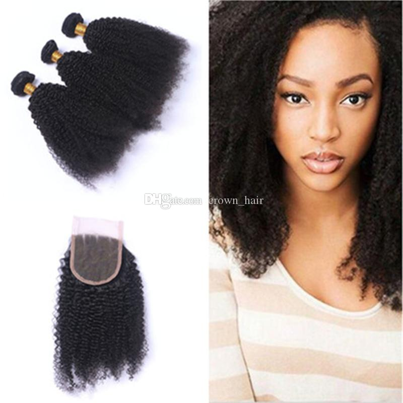 Hot Sale Afro Kinky Curly Hair Bundles With Lace Closure Brazilian Human Hair Extension 3 Bundles With Lace Closure 4*4 For Black Woman