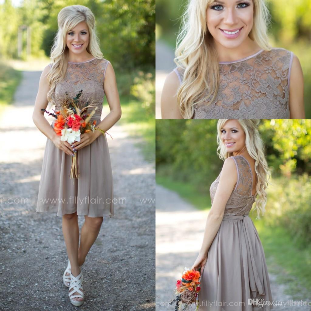 2016 brown lace short bridesmaid dresses open back jewel sash knee 2016 brown lace short bridesmaid dresses open back jewel sash knee length chiffon western wedding maid of honor dresses party cocktail gowns discount ombrellifo Image collections