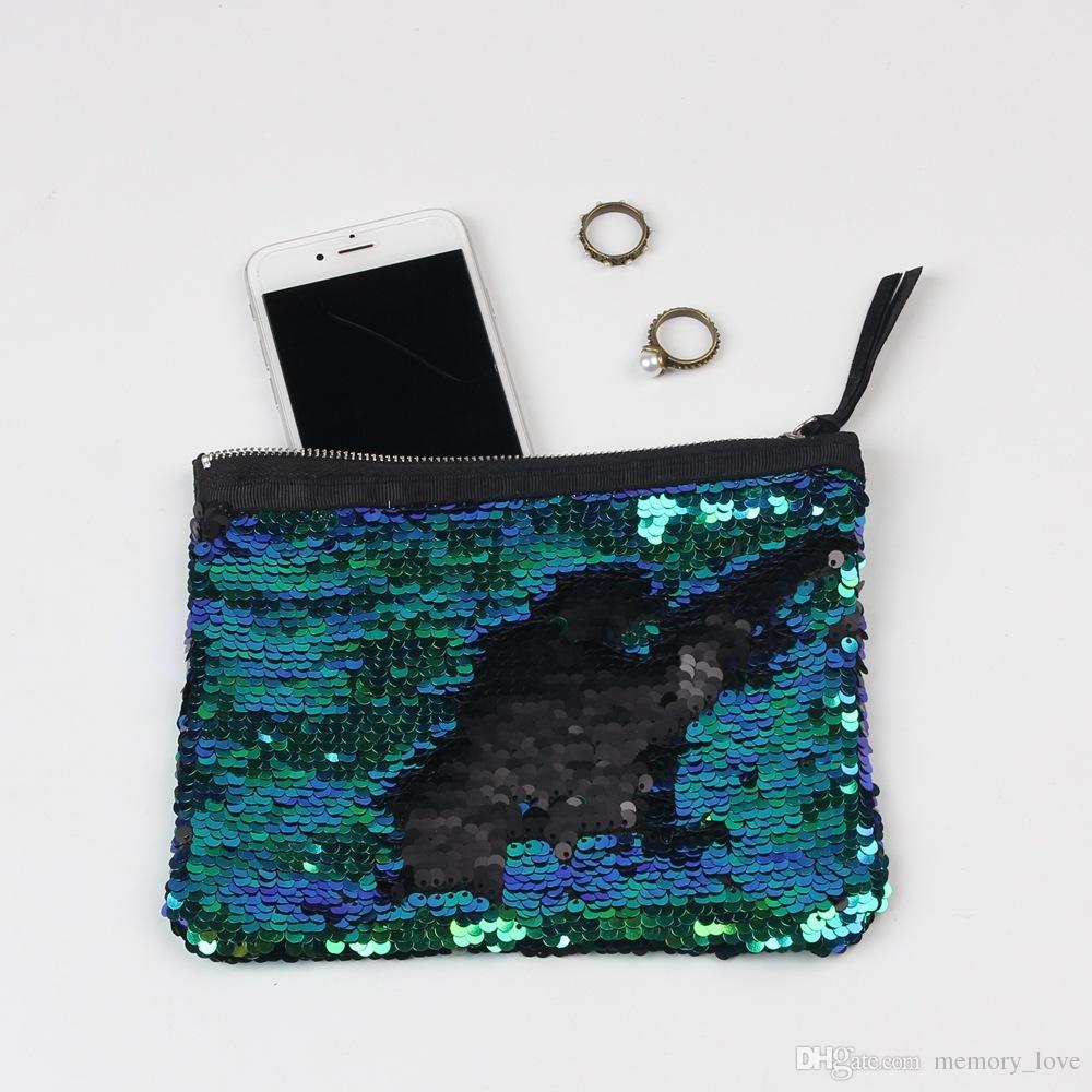 NEUESTE Pailletten Clutch Bag Mermaid Pailletten Geldbörse Meerjungfrau Make-up Taschen Kosmetiktasche Glitter Pailletten Münze Taschen Mode Beutel